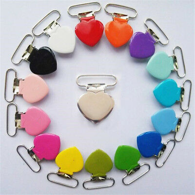 2Pcs Heart-shaped Metal Baby Pacifier Clips Holder Dummy Clip Bib Suspender NEW