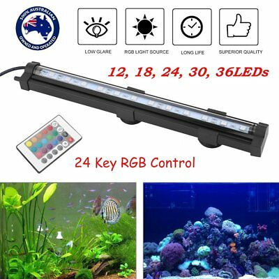 Aquarium Fish Tank Light Underwater Submersible Air Bubble LED RGB Remote Lights