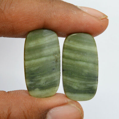 24 Ct Natural Green Jasper Gemstone Pair Jasper Loose Gemstone 27x14 MM G4353
