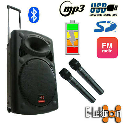 15 inch 900W Mobile PA Sound System Battery OPBT/MP3/USB/SD Mic Portable Speaker