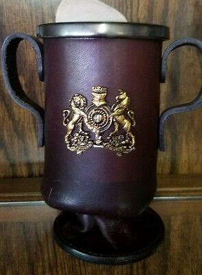 """L@@k!!! Leather Mug Cup Stein Gold Tone crest made in England 6"""" semper paratus"""