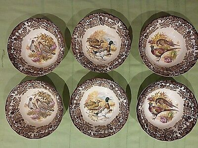 Royal Worcester England  Palissy Game Bird Series Cereal Bowls X 6