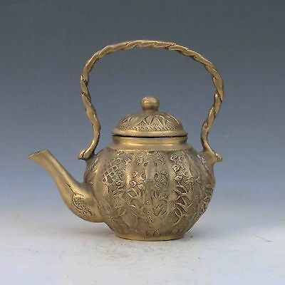Collectible Decorated Chinese Brass Handwork Carved Flowers teapot