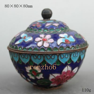 China Collect rare exquisite Delicate Cloisonne flower lucky blue pot & lid