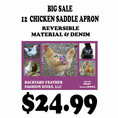 SALE  12  Chicken Saddle Apron Hen BACK FEATHER PROTECTION BACKYARD POULTRY