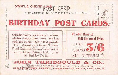 VINTAGE BIRTHDAY GREETING SAMPLE POSTCARD John Thridgould & Co London