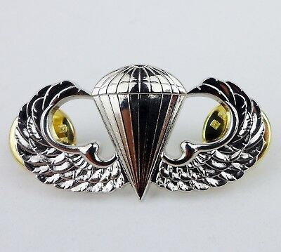 Silvery Us Army Air Force Marine Corps Navy Parachutist Badge Wings Pin-513