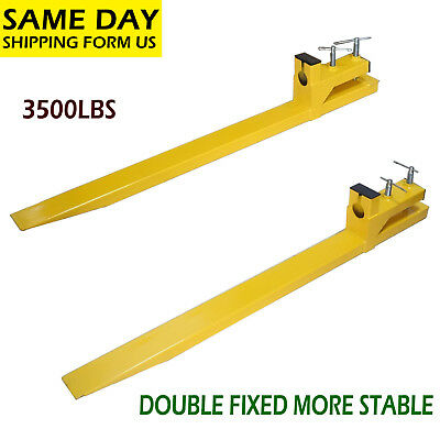 Clamp on 3500lbs Capacity Pallet Forks Loader Bucket Skidsteer Tractor Chain 59""