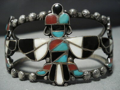 Early 1900's Vintage Zuni Turquoise Sterling Silver Knifewing Bracelet Old