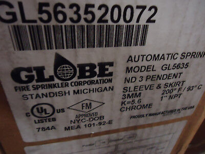 Case of 4 Globe GL5635 Pendent Dry Automatic Sprinkler Heads