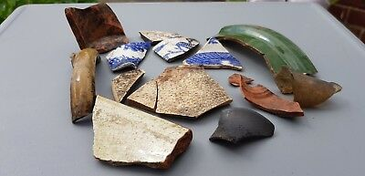 Lovely lot of pottery Shards Post Medieval to later found in river Wharfe L29c