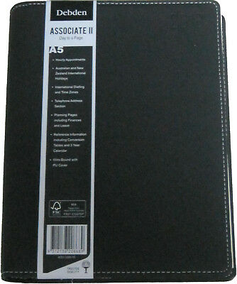 """Debden Associate II """"Day to a Page"""" A5 2018 Desk Diary Black PU Covers Wiro-Bou"""
