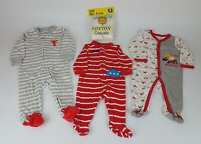 3371c8eb7 3-6 MONTH BABY Boys Footed Sleeper Pajama Lot of 3