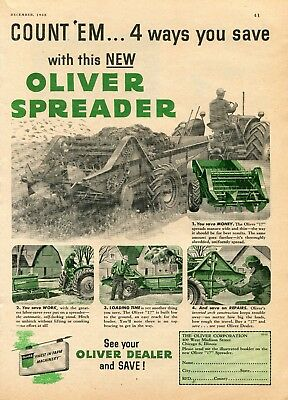 1952 Print Ad of Oliver Model 17 Manure Spreader Farm Tractor
