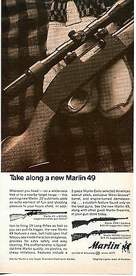 1968 Print Ad of Marlin 49 Rifle & 99 M1 989 M2 Carbine