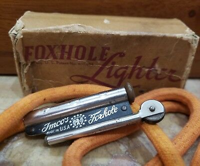 VINTAGE IMCO FOXHOLE Blackout Working Lighter  With Original Box & SPEAR  WICK