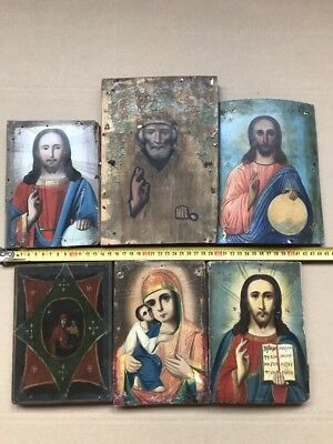 "Antique 19c Russian Orthodox Hand Painted Wood Icon ""Set of 6 icons"""