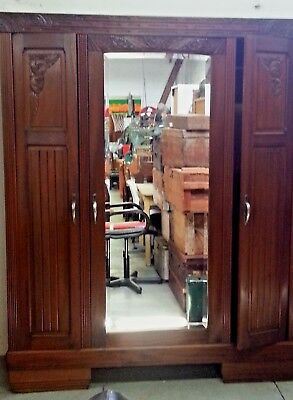 Art Deco Wardrobe French Armoire 1930's Vintage Carved Cherry wood