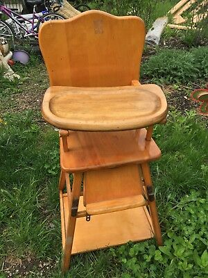 Heywood Wakefield Antique Vintage High Chair Convertible Folding GORGEOUS LOOK!