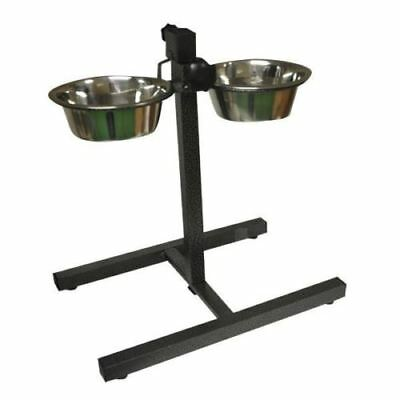 Pet/Dog Food Water Bowls set Twin Stainless Steel with Adjustable Height Stand