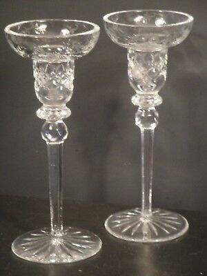 Pair Of Tall Lead Crystal Stemmed Candle Holders Sticks Cut Glass Top 8""