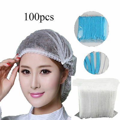 100 PCS DISPOSABLE HAIR NET CAPS NON WOVEN BOUFFANT STRETCH Spa tan DUST CAP New