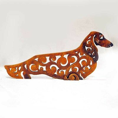 longhaired dachshund figurine, red, statue made of wood