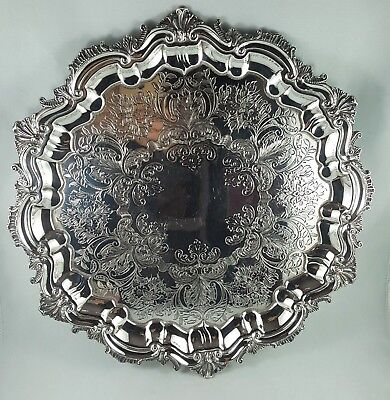 Antique Charles Howard Collins SilverPlate Etched Footed Serving Tray, c.1900s