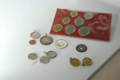 9 Pc Assorted Coins Nickles; Quarters; Chinese; Euro; 1/2 Dollar And More