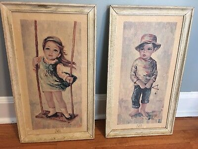 Pair of Pictures - Vintage 1960s M. Medeiros 'Not Guilty' Boy & 'Swingtime' Girl