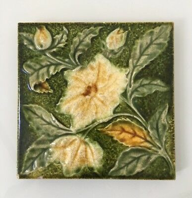 Vintage Antique Ceramic Tile - Decorative  Floral Made in England British