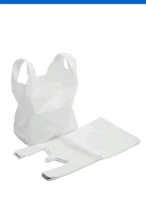 100x PLASTIC VEST CARRIER BAGS ** WHITE ** 11×17×21 (APPROX ) 280×410×510 mm