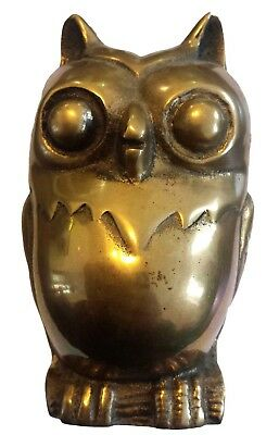 An Old Vintage Brass made BIG OWL Statue ORNAMENT PAPERWEIGHT Show Piece RARE**