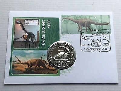 1993 Isle Of Man 1 Crown Coin WWF Preserve Planet Earth Dinosaur Diplodocus Rare