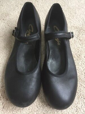 Womens Capezio Black Leather Mary Jane Tap Shoes Size 8W Wide