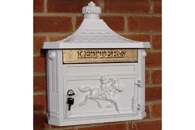 Victorian Wall Mounted Cast Aluminium Mail Box, Post Box, Card Letter Box