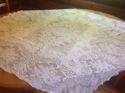 Vintage ivory Cotton Hand Crochet Lace Square Tablecloth lovely 54 square