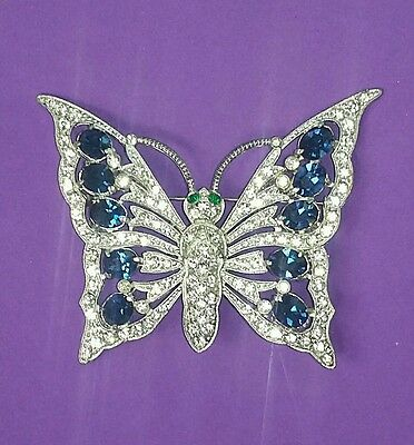 Antique Vintage Art Deco Era 40's Rare Rhinestone Butterfly Pin Spring Summer