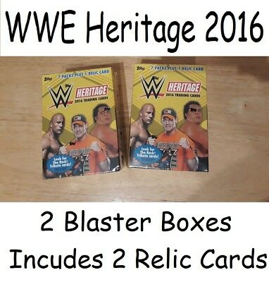 2 x Topps WWE Heritage 2016 Blaster Boxes  7 packs & 1 Relic card per box. NEW