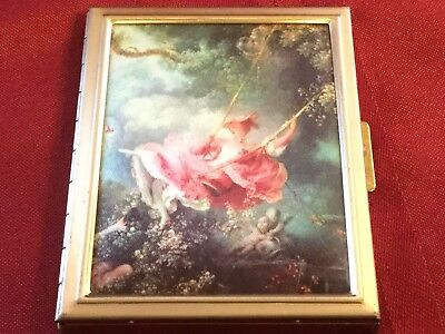 Metal Pocket/Purse Size Photo Album Fabric on Lid Victorian Lady on a Swing