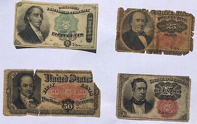 Various Fractional Currency Notes: $.50,$.50,$.25, and $.10