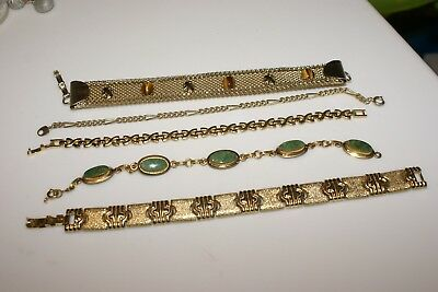 Vintage Jewelry Bracelet Lot Of 5  DIFFERENT TYPES NOT NAMED  CLASPS GOOD