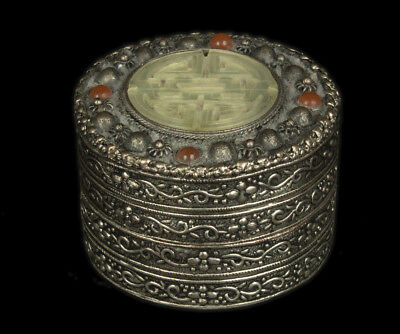 China 20. Jh. Dose -A Chinese Silvered Metal Jade / Nephrite Box Chinois Cinese