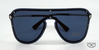 1b96298efd Versace VE2180 1000 80 Silver with Blue Shield Sunglasses New Authentic 44