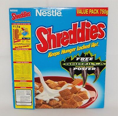 Vintage Shreddies Cereal Box Nestle General Mills 1997 Godzilla Promo