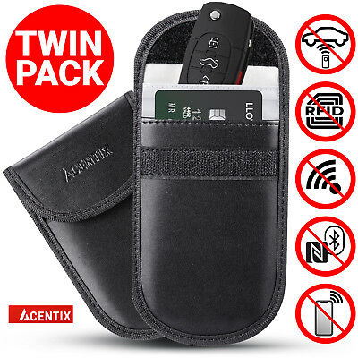2x ACENTIX Keyless Car Key RFID Signal Blocker Faraday Bag Fob Guard Pouch Cases
