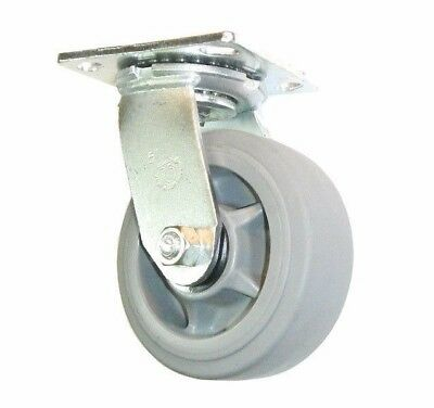 "Soft Gray Rubber 5"" x 2"" Swivel Caster Non Marking Wheel Medium Duty MH520TPA-S"