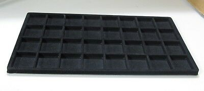 Black Flocked 32 Compartment Display Insert for Standard Full-Size Jewelry Tray