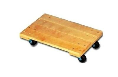 """Light Duty Solid Top Oak Wood Movers Dolly 18"""" x 30"""" with Black Polyolefin Wheel"""