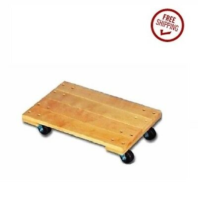 """Oak Solid Top 3"""" Hard Rubber Wheel Movers Dollie 4-wheel Piano Dollie"""